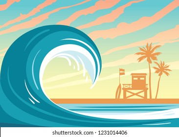 Nature landscape with big wave in a blue sea, silhouette of  lifeguard station, palm tree and sunset sky. Vector illustration. Summer holiday card.