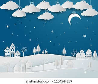 Nature landscape with countryside in winter season,abstract blue night background on paper art design