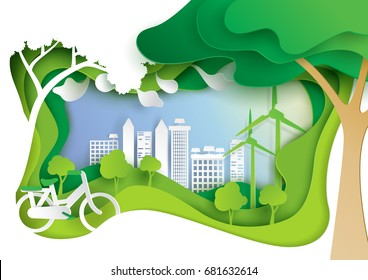 Nature landscape and eco friendly concept.Paper carve of environment conservation conceptual design paper art style.Vector illustration.