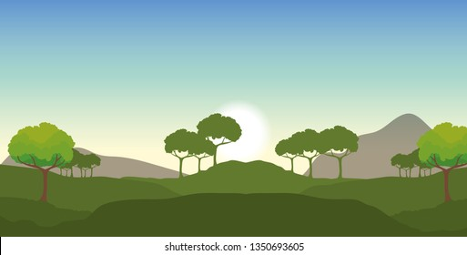 nature landscape with ecology trees and mountains