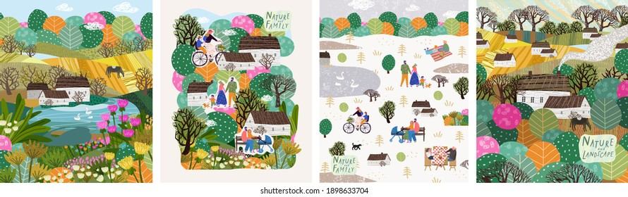 Nature, landscape, family and people. Vector illustration of a house, lake, field, view, village, tree and flowers. Drawings for poster, background or pattern