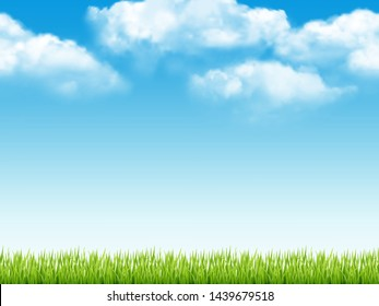 Nature landscape. Fresh background with green grass blue sky with clouds dream field vector realistic seamless pattern. Field green grass, landscape meadow illustration