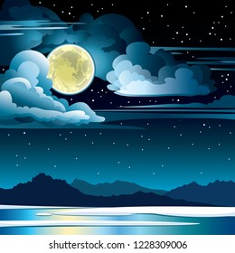 Nature landscape with full moon and clouds on a starry night sky and frozen lake with silhouette of mountains. Winter vector illustration.