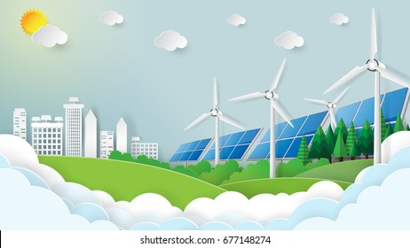 Nature landscape and green city. Save the world and environment concept. Paper art style. Vector illustration.
