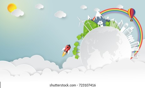 Nature landscape and green energy concept.Eco friendly earth and environment conservation paper art style.Vector illustration.