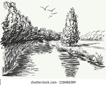 Nature landscape, Hand drawn illustration sketch.