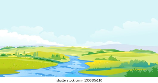 Nature landscape of hills and meadows with fast river in the valley, travel concept illustration, fields background in summer day with green grass and flovers near river