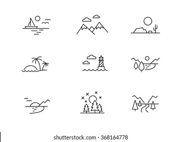 Nature landscape icons, thin line style