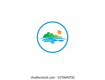 nature landscape lake island peaceful harmony logo icon