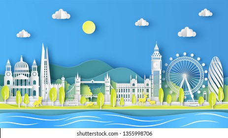 Nature landscape of London city, England in Spring season with the world famous architecture in London, England. paper cut and craft style. vector, illustration.