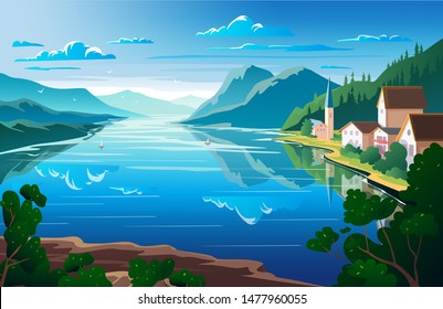 Nature landscape, mountains and river View point