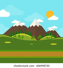 Nature landscape with mounties in flat style. Outdoor concept. Vector stock.