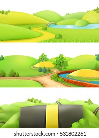 Nature landscape. Park and outdoor. Cartoon game background. 3d vector set