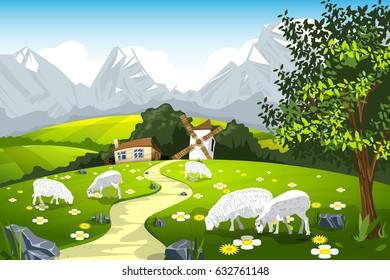 Nature landscape pasture with sheep milk farm vector illustration