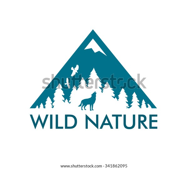 Nature Landscape with raven and wild wolf. Vector Logo with caption Wild Nature.