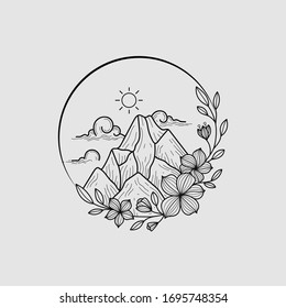 Nature Landscape Round Doodle Art Tattoo Ideas (Mountain, Sun, Cloud, Flowers, Plant)