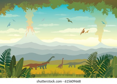 Nature landscape with silhouette of dinos (diplodocus and pterodactyl), volcano with lava, blue mountains and green grass with fern. Vector illustration with prehistoric wildlife.
