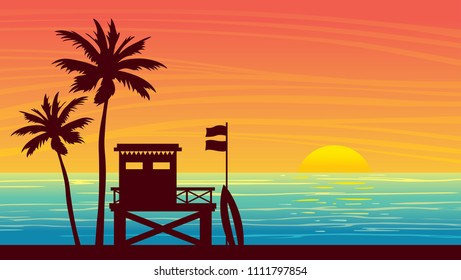 Nature landscape with silhouette of lifeguard station and palm tree on a sunset sky. Vector summer illustration.