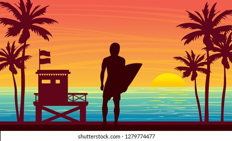 Nature landscape with silhouette of surfer, lifeguard station and palm tree on a sunset sky. Vector summer illustration. Water sport - surfing.