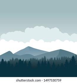 Nature landscape silhouette vector illustration. Mountain wallpaper vector. Pine trees silhouette