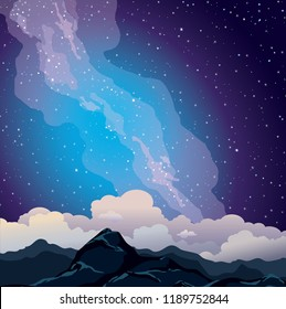 Nature landscape with snowy mountains, night starry sky, clouds and milky way. Vector illustration.