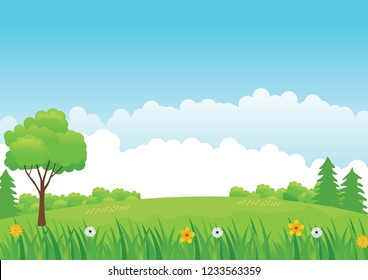 Nature landscape vector with flower