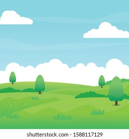 Nature landscape vector with green field, grass, trees, blue sky and clouds suitable for background or illustration