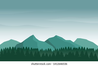 Nature landscape vector illustration with blue and green color suitable for wallpaper or web background. Mountain vector background