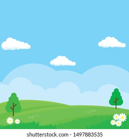 Nature landscape vector illustration. Field cartoon illustration suitable for kids theme background