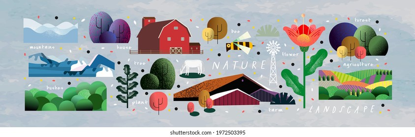 Nature and landscape. Vector illustration of trees, forest, mountains, flowers, plants, houses, fields, farms and villages. Picture for background, card or cover