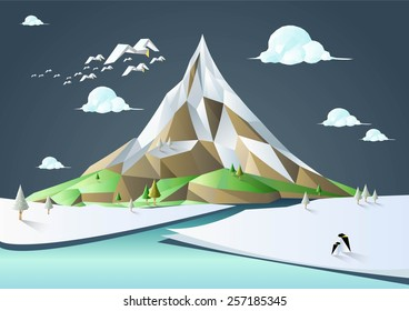 Nature Landscape Vector Low Poly Polygon