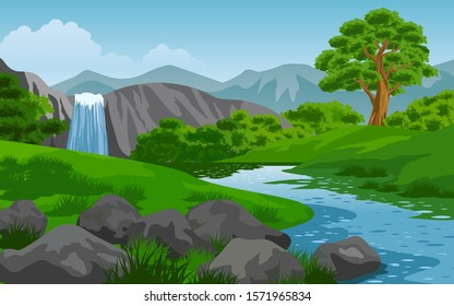 Nature landscape with waterfall and river