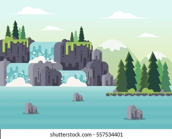 Nature Landscape - Waterfall, River and Mountains. Flat Design Style.