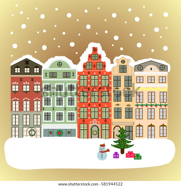 Nature landscape. Winter city with trees, cute houses, sun.Vector illustration., EPS 10. Landscape with nature and houses. Vector illustration. Winter is coming.