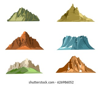 Nature landscapes with green hills and snow mountains cartoon vector. Set of mountains with snow and green grass, illustration of mountain hill rock