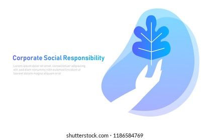 nature leaf on hand. symbol concept of corporate social responsibility. care environment organic. illustration vector