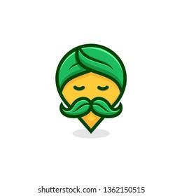 nature leaf pin guru logo design illustration concept.