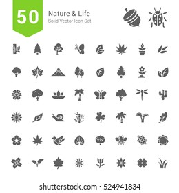 Nature and Life Icon Sets. 50 Solid Vector Icons.