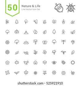 Nature and Life Icon Sets. 50 Line Vector Icons.