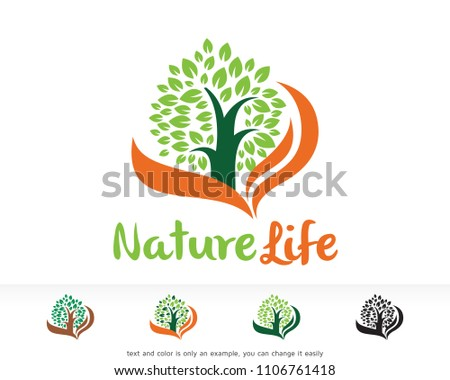 Nature Life Logo Symbol Template Design Stock Vector Royalty Free