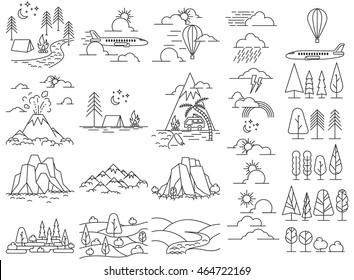 Nature line icon landscapes with mountains, fields and river, volcano and hiking camps. Also aircraft and ballooning in sky. Vector illustration