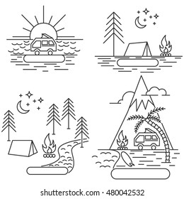 Nature line icon landscapes with mountains, fields and river, surfing camps and sunrise.