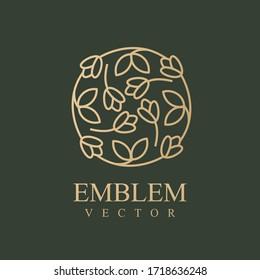 Nature logo. Floral logo. Flower icon. Floral emblem. Cosmetics, Spa, Beauty salon, Decoration, Boutique logo. Interior Icon. Resort and Restaurant Logo. Herbal, leaf, nature icon.