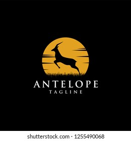 Nature logo inspiration of jumping antelope at the moon night