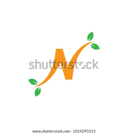 Nature Logo Letter N Design Template Stock Vector Royalty Free