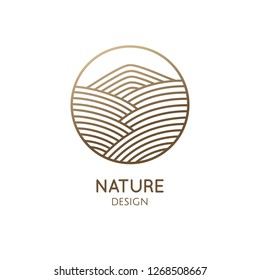 Nature logo of mountain, fields. Round linear icon of landscape. Vector emblem, badge for a travel, alternative medicine and ecology concept, spa, health, yoga Center. Japanese illustration