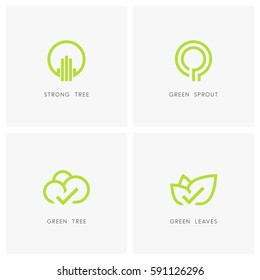 Nature logo set. Green tree and leaves with check mark, sprout symbol - ecology and environment icons.