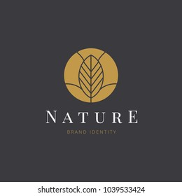Nature monogram Logo template design for beauty spa and green products