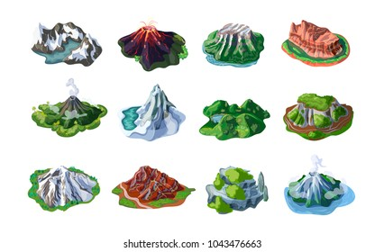 Nature mountain landscapes set with mounts volcanoes hills cliffs rocks peaks of different relief isolated vector illustration