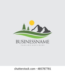 Nature with Mountain Logo available in vector/illustration